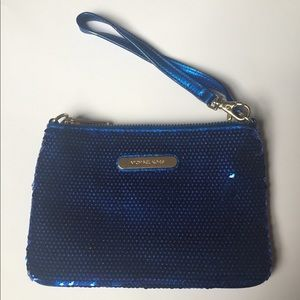 Michael Kors wristlet, sequin royal blue